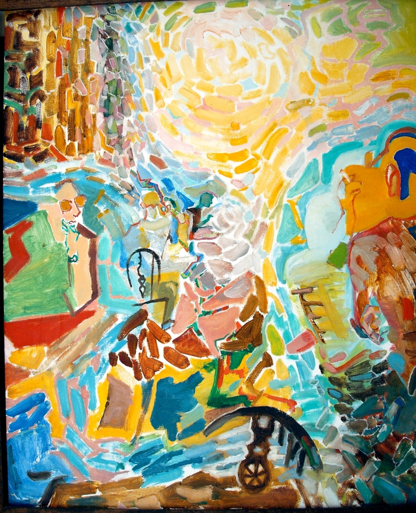 "This painting is from 1987, when I was living in the spaces-between - it is developed from tables and persons (left and right) in a coffee-shop - the living ""canyon"" between them."
