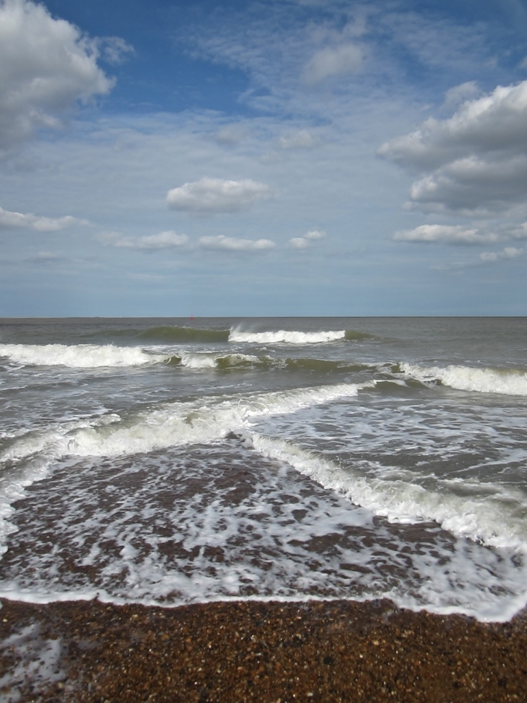 waves on shingle point