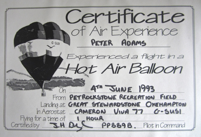 peter balloon certificate
